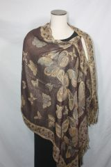 Pashmina Poncho - Chocolate Brown and Gold Butterfly Pattern