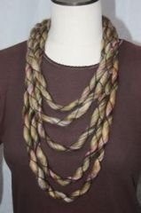 Variegated Browns and Rose Crocheted Infinity Scarf