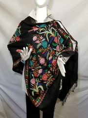Black, Pink, Blue and Green Heavy Embroidered Kashmiri 100% wool 4 Way Ponchos Pashminas with Tassel Accents
