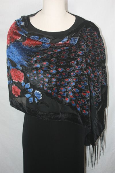 Burnout Velvet Black, Red, Blue Peacock Print Poncho