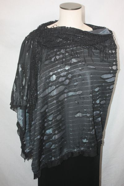 Black Distressed Fabric with Venetian Lace Collar Poncho