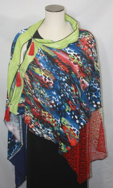 Patchwork Poncho - Red, Blue, White & Lime Print Knit with Laces