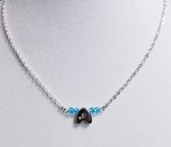 Initial March Birthstone Bar Silver Necklace 16 Inch Chain