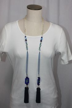 Tassel Stone and Bead Lariat Necklace Royal Blue and Green