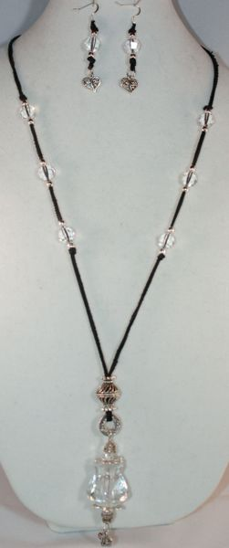 Black Deer Hide Crystal Knob Necklace/Earring Set