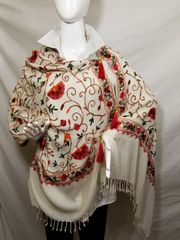 Cream Embroidered Kashmir 100% Wool 4 Way Ponchos Pashmina Scarf with Tassel Accent
