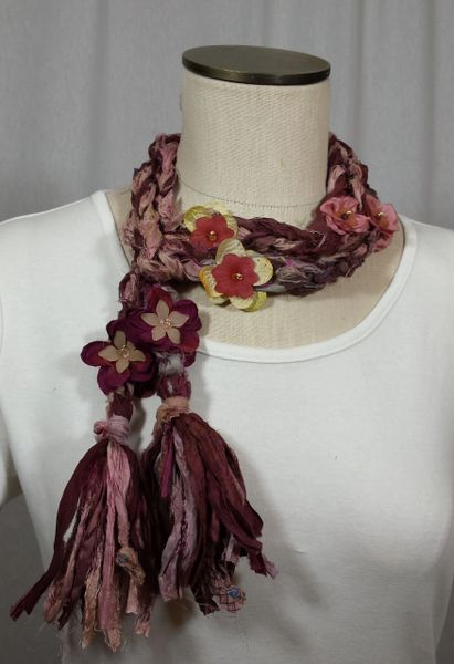 Burgundy and Mauve Crocheted Recycled Sari Silk Scarf with Silk Flower, Stone and Bead Embellishment