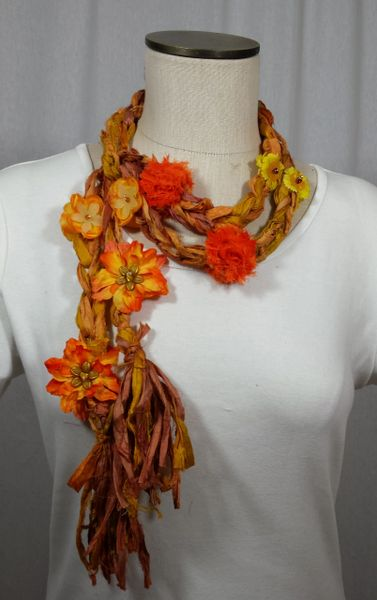 Sunshine Orange and Yellow Crocheted Recycled Sari Silk Scarf with Silk Flower, Stone and Bead Embellishment
