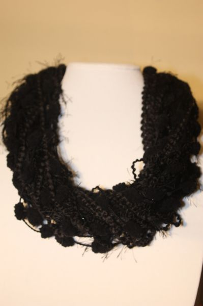 Mix of Black Textures Yarn Necklace Scarf