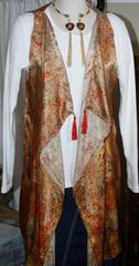 Handmade Exquisite Golden Hues Silk 3-Panel Vest With Tassel Elements Can Also Be Worn a Scarf