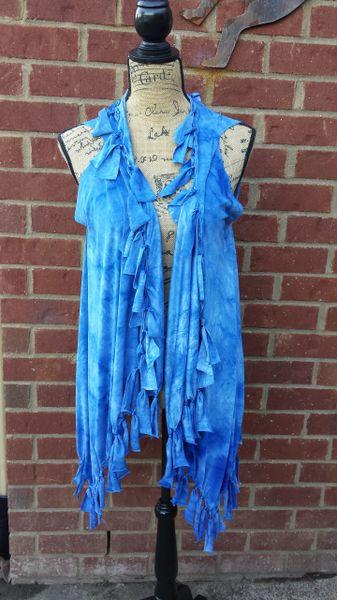 Blue Tie Dyed Fringe Vest with beaded Fringe and Tuck Details