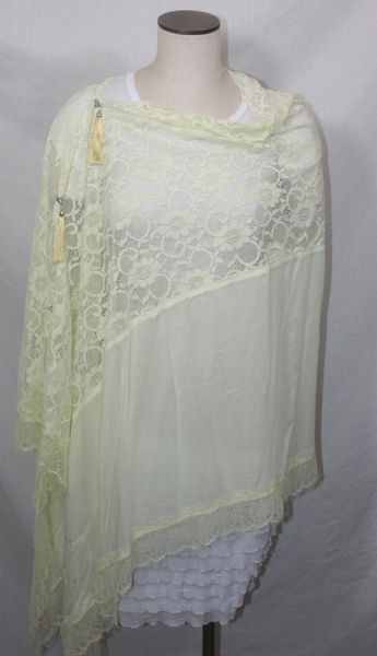 Lace Butter Yellow Vest/Poncho/Scarf with Tassel Accents