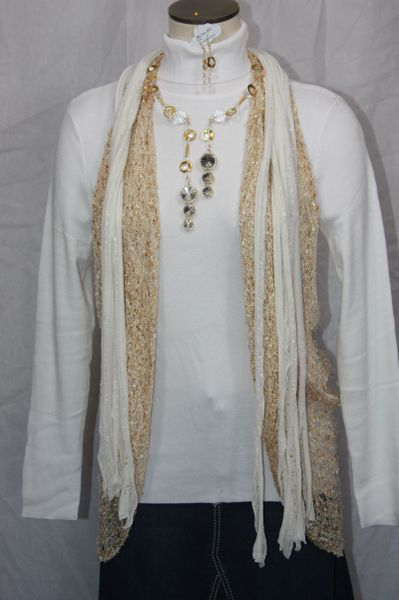 Golden Circles and Crystal Double Dangle Necklace and Earring Set