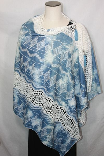 Patchwork Poncho - Embroidered Denim Blue with Lace
