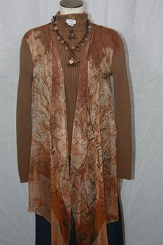 Brown Polyester Chiffon Fabric 3-Panel Vest Scarf Tree Print