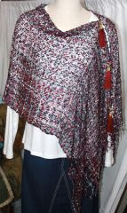 Woven Black/Burgundy/Grey/White Vest/Poncho/Scarf with Tassel Accents