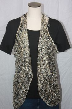 Woven Black/White/Grey/Taupe Vest/Scarf