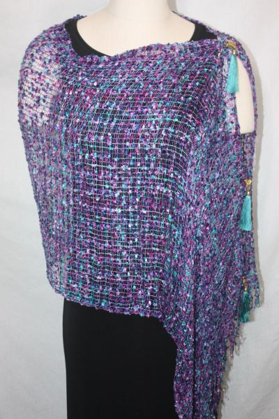 Woven Shades Purple, Blue, Turquoise, Magenta Vest/Poncho/Scarf with Tassel Accents