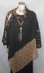 Patchwork Poncho - Black, Tan, Leopard