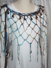 Royal Blue, Brown and Cream Sari Silk and Handknotted Banana Fiber Poncho with Tassel Embellishments