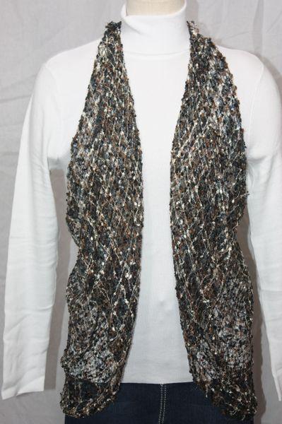 Woven Brown/Grey/Cream Vest/Scarf