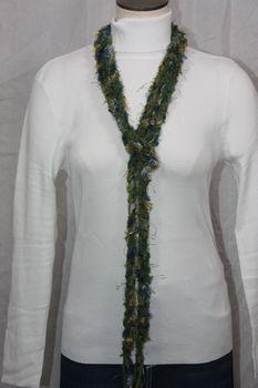 Army Green Yarn with Blue and Silver Grey Eyelash Crocheted Rope Scarf
