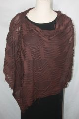 Brown Distressed Fabric Poncho