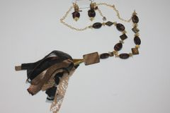 Black & Brown Shell and Gold Bead Necklace with Matching Earrings