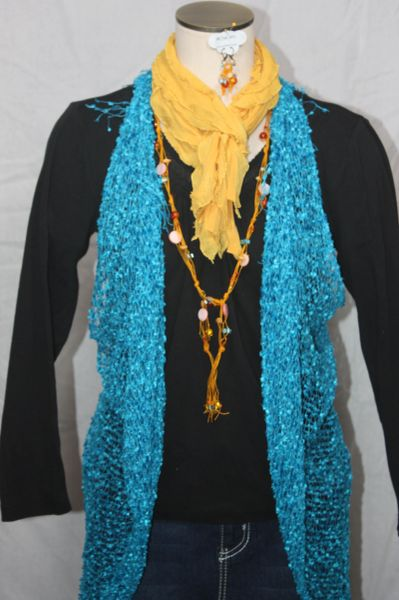 Turquoise Vest/Scarf
