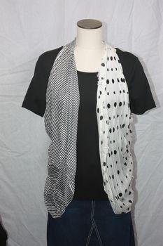 Rayon Black Stripe/Polka Dot Vest/Scarf