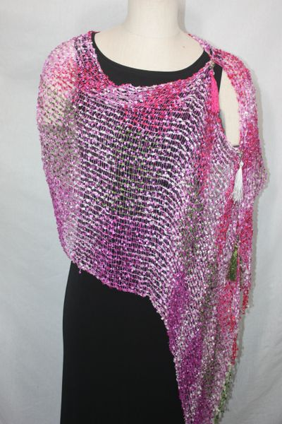 Woven Shades of Magenta, Olive Green, Pink Vest/Poncho/Scarf with Tassel Accents