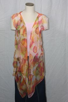 Pink, Magenta and Green Polyester Chiffon Fabric 3-Panel Vest Scarf Leaf Print