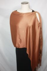 Pashmina Poncho - Coppery Light Brown Modal