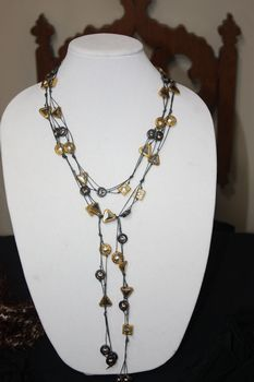 Grey Hand Knotted Irish Linen with Metal, Gold and Gunmetal and Hematitie Beads Necklace Lariet