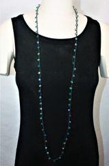Long Black Irish Linen Crocheted Lariat with Blue Green Iridescent Crystals Beads