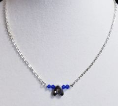 Initial September Birthstone Bar Silver Necklace 16 Inch Chain