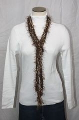Brown Yarn with Eyelash Crocheted Rope Scarf