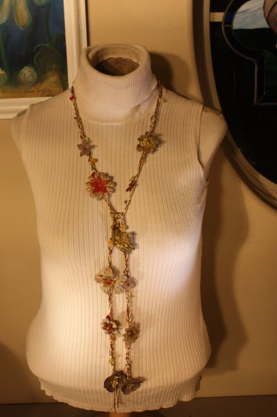 Burgandy, Cream and Sage Green with Natural Stone Crocheted Thread Daisy Chain Necklace Lariet