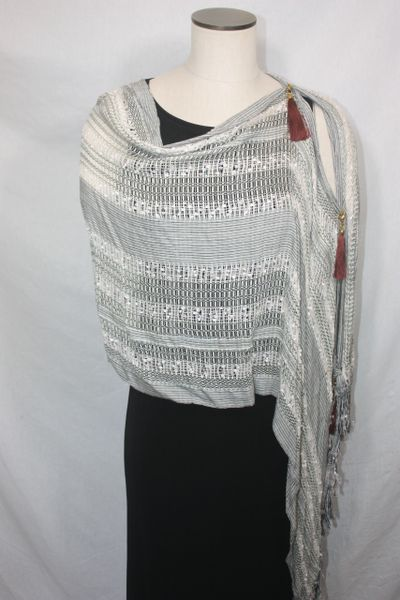 Woven Shades of Cream, Black, Brown Vest/Poncho/Scarf with Tassel Accents