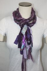 Purple Yarn Pigtail Scarf with Fabric Embellishment