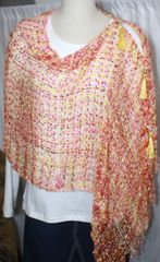 Woven Multi Brown/Yellow Vest/Poncho/Scarf with Tassel Accents