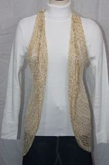 Woven Light Brown/Gold Lurex Vest/Scarf
