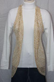 Woven Light Brown/Gold Lurex Vest/Scarf
