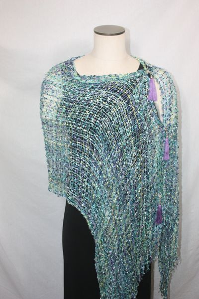 Woven Shades of Turquoise, Purples, Lime Green Vest/Poncho/Scarf with Tassel Accents