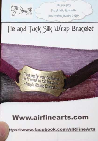 "Hues of Purple Silk ""Tie and Tuck"" Wrap Bracelet Embellished with Bronze Quote"