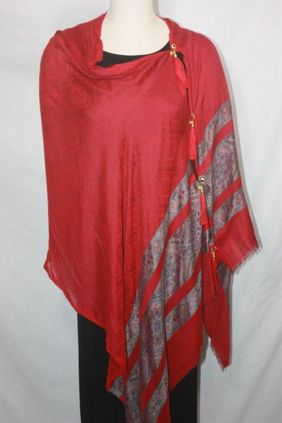 Pashmina Poncho - Red with Stripes Silk