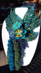 Multi Deep Turquoise Blue and Green and Purple Hues, Wool Boucle' Fabric Winter Scarf with Lucite and Yarn Flower Decorative Clasp