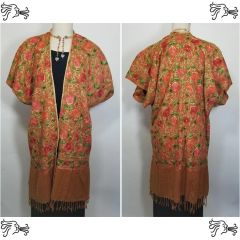 Cinnamon Peach Embroidered Kimono Jacket Duster Vest