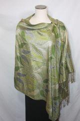 Pashmina Poncho - Olive Green Paisley Pattern