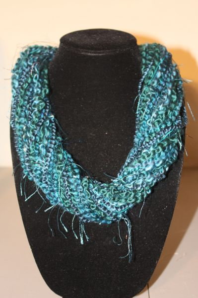 Mix of Teal Yarn Necklace Scarf